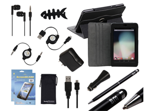 Bundle Monster 12in1 Case Charger Cable Accessories for Google Nexus 7 Tablet BK