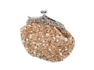 BMC Glamour Elegant Satin Beaded Bridal Sequin Vintage Purse Handbag-PALE PEACH