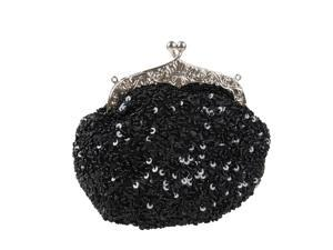 BMC Glamour Elegant Satin Beaded Bridal Sequin Vintage Purse Handbag - BLACK