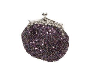 BMC Glamour Elegant Satin Beaded Bridal Sequin Vintage Purse Handbag - PURPLE