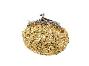 BMC Glamour Elegant Satin Beaded Bridal Sequin Vintage Purse Handbag-BRIGHT GOLD