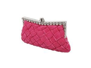 BMC Womens Evening Elegant Jeweled Rhinestone Pleated Clutch Handbag - FUCHSIA