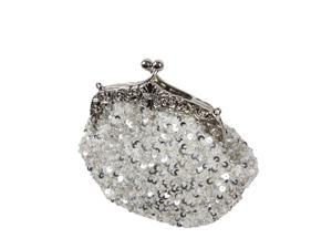 BMC Glamour Elegant Satin Beaded Bridal Sequin Vintage Purse Handbag - WHITE