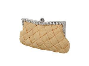 BMC Womens Evening Elegant Jeweled Rhinestone Pleated Clutch Handbag-NUDE CREME