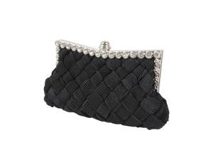 BMC Womens Evening Elegant Jeweled Rhinestone Pleated Clutch Handbag - BLACK