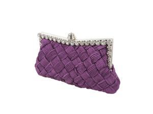 BMC Womens Evening Elegant Jeweled Rhinestone Pleated Clutch Handbag - PURPLE