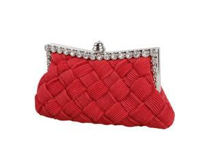 BMC Womens Evening Elegant Jeweled Rhinestone Pleated Clutch Handbag-BRIGHT RED