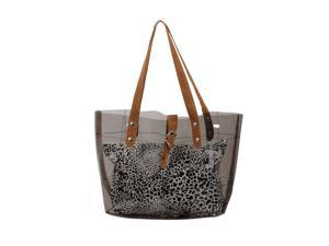 Bundle Monster PVC Vinyl Clear Transparent Carrier Beach Hand Carry Bag + Cheetah Print Cosmetic Tote - SMOKEY ASH GRAY