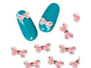 BMC 10pc DIY Nail Polish Art Pink Resin Butterfly Cabochon Stud Decorations Set