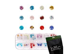 BMC 60pc Mix Color Clear Acrylic Disco Ball DIY 3D Nail Art Stud Decoration Set