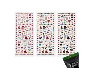 BMC Nail Art Water Transfer Stickers Tattoo Effect Decal-Diamonds Glasses Badges
