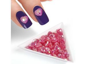 BMC Fuchsia Iridescent Enamel Resin Diamond Heart Designed 3D DIY Nail Art Studs
