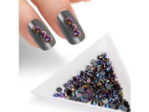 BMC Black Iridescent 4mm Resin 3D Nail Polish Art Decorative Rhinestone Studs