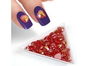 BMC Red Iridescent Enamel Resin Diamond Heart Designed 3D DIY Nail Art Studs
