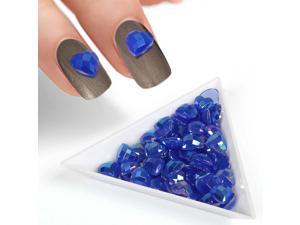 BMC Blue Iridescent Enamel Resin Diamond Heart Designed 3D DIY Nail Art Studs