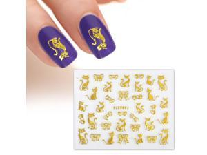 BMC Multiple Design Gold Color Cats Bows DIY Manicure Nail Polish Art Stickers