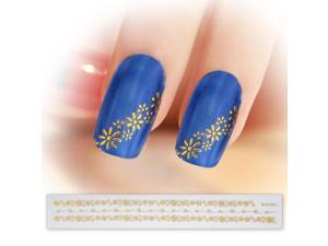 BMC Gold Color Floral Pattern Wavy Dot 3D DIY Manicure Nail Art Stickers Strips