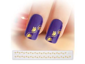 BMC Gold Color Butterflies Wavy Dot 3D DIY Manicure Nail Art Stickers Strips
