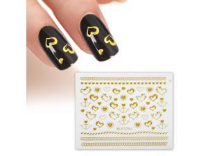 BMC Gold Color Hearts Braided Chains 3D DIY Manicure Nail Polish Art Stickers