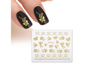 BMC Gold Color Butterflies Dot Hearts 3D DIY Manicure Nail Polish Art Stickers
