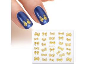 BMC Multiple Design Gold Colored Bows 3D DIY Manicure Nail Polish Art Stickers