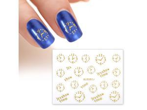 BMC Gold Color Clock Faces Its Show Time 3D Manicure Nail Polish Art Stickers