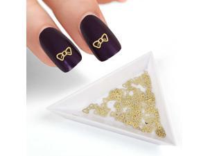 BMC 120pc Flexible Gold Metal Bow Tie Style Cut Out Nail Art Decorative Confetti