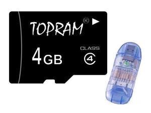 TOPRAM 4GB 4G microSD microSDHC micro SD Class 4 Card + R1 (bulk pack) - OEM