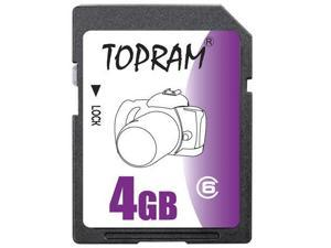 TOPRAM 4GB 4G SD SDHC Secure Digital Card Class 6 (bulk pack) - OEM