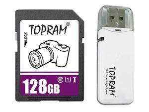 TOPRAM 128GB SD SDHC 128GB SDXC Card Class 10 Ultra High Speed UHS-I for Camera & Camcorder with USB 3.0 Card Reader