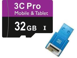 3C Pro 32GB 32G microSD microSDHC micro SD SDHC Card Class 10 Ultra High Speed UHS-I for Mobile & Tablet with USB Reader