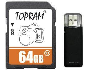 TOPRAM 64GB 64G SD SDHC SDXC Card Class 10 Extreme Speed for Camera & Camcorder with R3 Reader