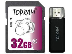 TOPRAM 32GB SD 32GB SDHC Card Class 10 Extreme Speed for Camera & Camcorder + R3 Reader