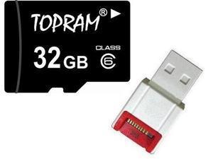 TOPRAM 32GB 32G microSD microSDHC micro SD Class 6 C6 Memory Card +R10w Reader