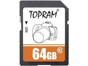 TOPRAM 64GB 64G SD SDXC Card Class 10 Extreme Speed for Camera & Camcorder
