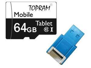 TOPRAM 64GB microSD microSDHC 64G microSDXC micro SD SDHC UHS-I Class 10 Card with USB 2.0 Card Reader