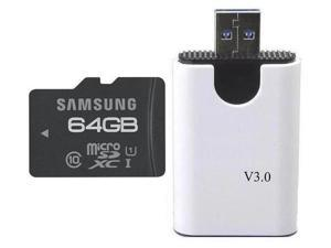 Samsung 64GB 64G microSDXC microSD SD SDHC SDXC Card Class 10 UHS-I with oem USB 3.0 Reader