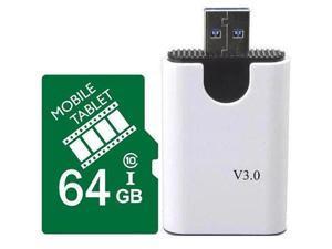FilmPro 64GB microSD microSDHC 64G microSDXC micro SD SDHC UHS-I Class 10 Card with USB 3.0 Card Reader Fit Galaxy S3 S4