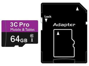 3C Pro 64GB microSD microSDHC 64G microSDXC micro SD SDHC UHS-I Class 10 Card for Tablet and Smart Phone fit Galaxy S3 S4