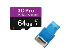 3C Pro 64GB microSD microSDHC 64G microSDXC micro SD SDHC UHS-I Class 10 Card with USB 2.0 Card Reader fit Galaxy S3 S4