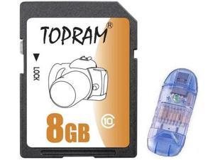 TOPRAM 8GB SD 8GB SDHC Card Class 10 Extreme Speed for Camera & Camcorder with USB Card Reader (bulk pack) - OEM