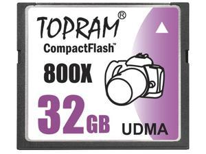 TOPRAM 32GB CF 32G CompactFlash Card Extreme Speed 800X UDMA RAW  read: 120MB/s  write: 60MB/s