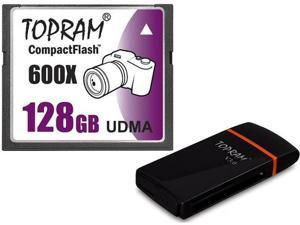 TOPRAM 128GB CF 128G CF CompactFlash Card 600X Extreme Speed Fast UDMA RAW with USB 3.0 Reader