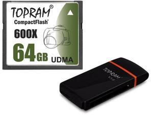 TOPRAM 64GB CF 64G CompactFlash Card Extreme Speed 600X UDMA RAW with USB 3.0 Card Reader