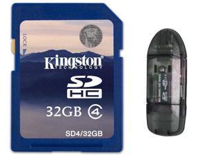 Kingston 32GB 32G SD SDHC Secure Digital High-Capacity Flash Card Class 4 with USB 2.0 Card Reader