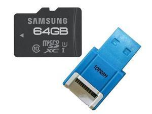 Samsung 64GB 64G microSDXC microSD SD SDHC SDXC Card Class 10 UHS-I with oem USB 2.0 Reader & oem SD Adapter