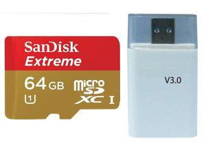 SanDisk Extreme 64GB microSD 64G Extended Capacity microSDXC Class 10 UHS-I up to 45MBps with USB 3.0 High Speed Card Reader
