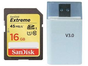 SanDisk 16GB 16G Extreme SD SDHC Card UHS-I Class 10 up to 45MB/s 300X with USB 3.0 High Speed Reader