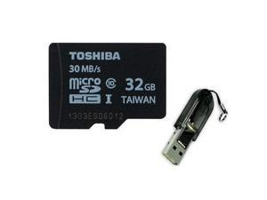 Toshiba 32GB MicroSDHC 32G Micro SD SDHC Card UHS-I Class 10 30MB/s Retail with USB 2.0 Card Reader