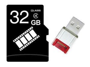 FilmPro 32GB 32G microSD microSDHC micro SD Class 4 C4 Memory Card +R10w Reader